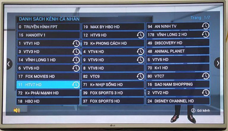 Giao diện kênh truyền hình FPT