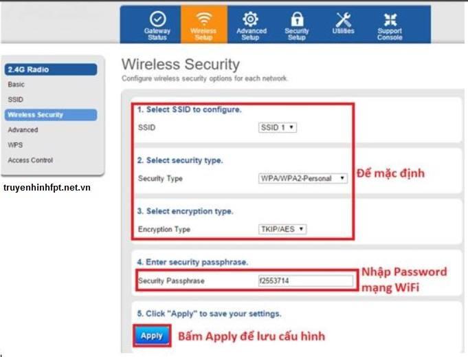 Thông tin đổi mật khẩu wifi modem G97D2 Fpt