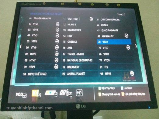 Danh sách kênh truyền hình xem trên màn hình máy tính