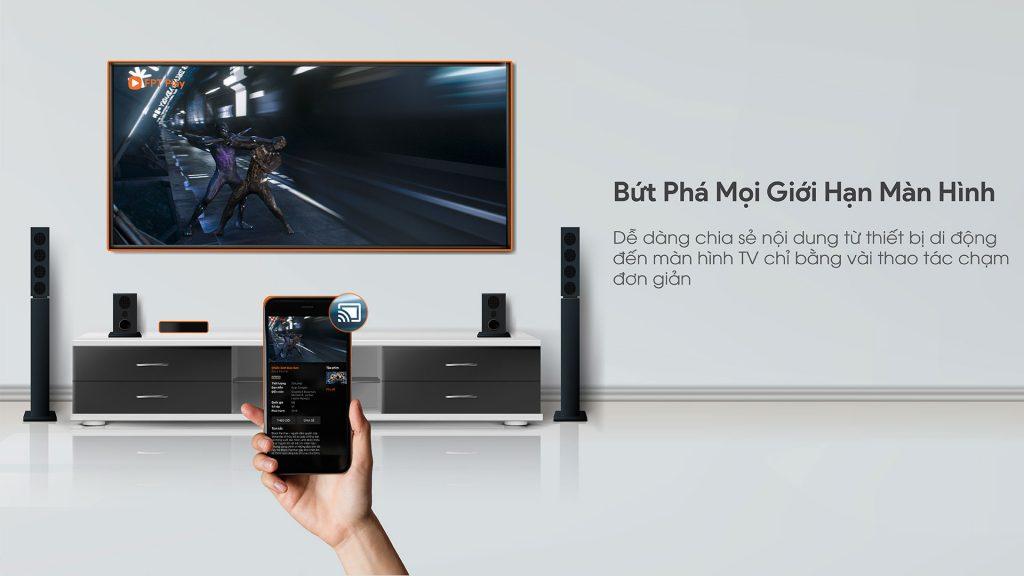 Hiển thị nội dung từ điện thoại lên tivi thông FPT Fpt Play Box