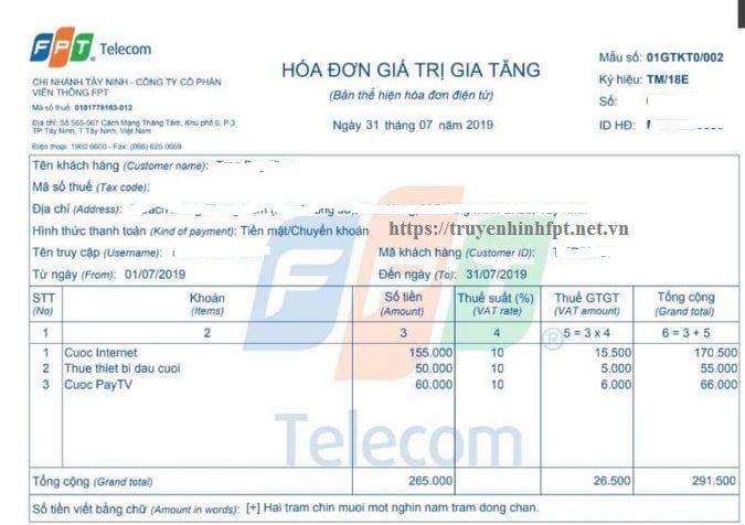 Hóa đơn tiền cước Fpt có tiền thuê thiết bị đầu cuối