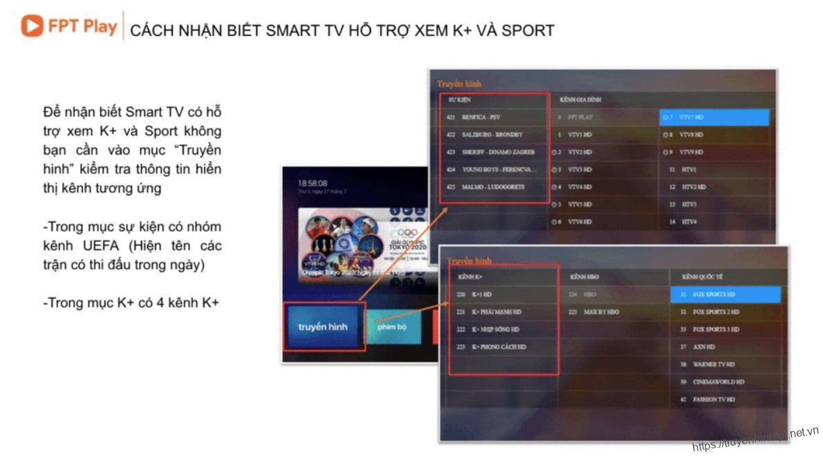 Cách kiemr tra Smart TV có hỗ trợ xem bóng đá trực tiếp qua app FPT Play K+, C1